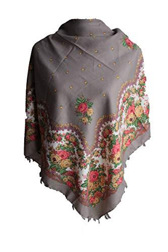 majo luju Damen Tuch Schal Halstuch Paisley Blumen Tracht Russisch Folklore Fransen Russia