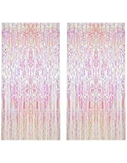 2 Pack Foil Curtains Metallic Fringe Curtains Shimmer Curtain for Birthday Wedding Party Christmas Decorations Metallic Foil Fringe Tinsel Curtain Happy Birthday Party Decoration