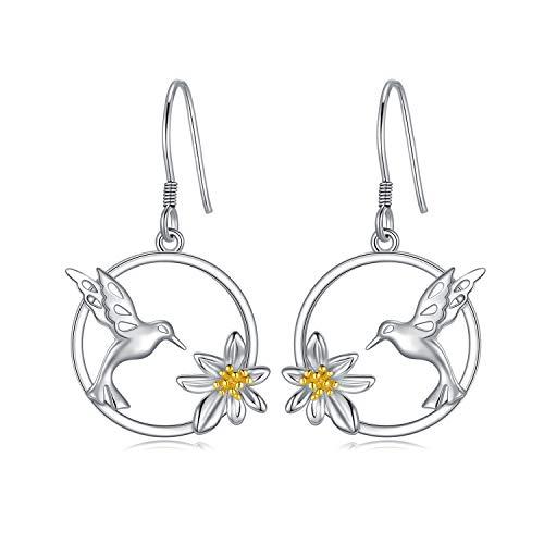 WINNICACA Gänseblümchen Kolibri Tropfen Ohrringe Sterling Silber Vogel Blume Ohrringe für Frauen Mädchen Geschenke