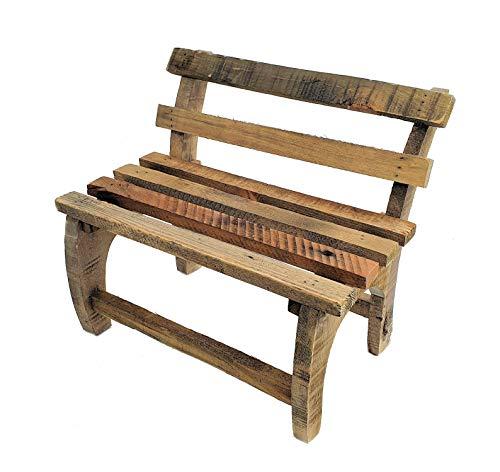 Spetebo Holz Deko Blumenbank - 32x27x21 cm - Bank aus altem Holz Holzbank Garten Pflanzenständer Blumenständer Pflanzen Bank
