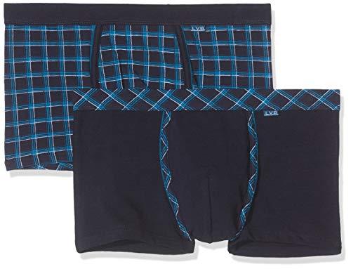 LVB Mannen Blue and Petrol Check Stretch Cotton Zwembroek (verpakking van 2)