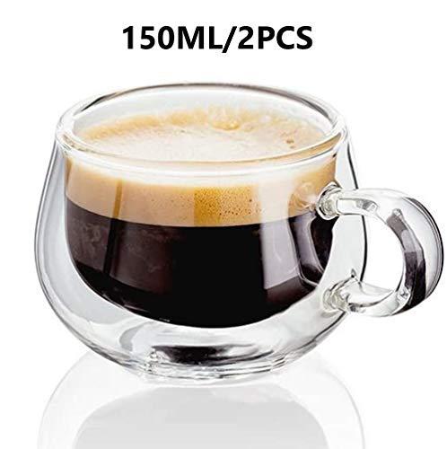 150ml - Set van 2 - Dubbelwandige glazen met handvat - Perfect doorzichtige kopjes - Thee - Koffie - Cappuccino - Hittebestendig isolerend - Houdt dranken warm,150ML/2PCS