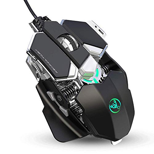 AZPINGPAN Wired Gaming Mouse,USB Interface Mouse,with 9 Buttons Ergonomic Programmable,for PC Computer Laptop Gaming Players,16 Millon Color Breathing Lights