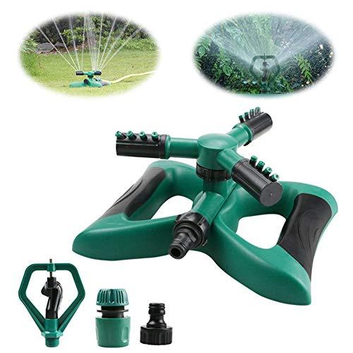AUZZO HOME Arroseur de Jardin 3 Buses Arroseurs de pelouse Système d'arrosage Rotatif Automatique à 360 ° Système d'irrigation de pelouse d'extérieur à Angle et Distance réglables