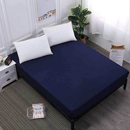 ASDFF Mattress cover Waterproof Mattress Protector Solid Color Mattress Cover Fitted Sheet Style Separated Waterbed Pad Linens With Elastic 140X200X30cm Navy blue