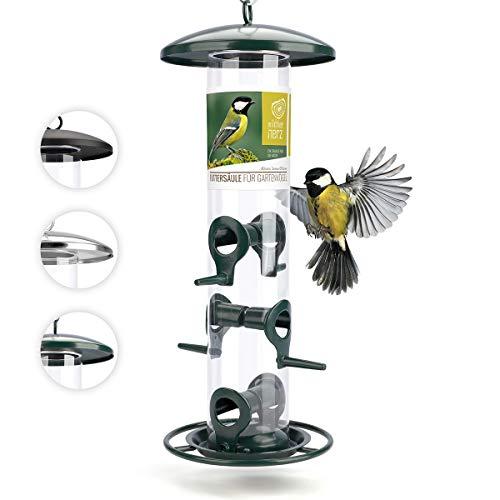 wildtier herz I Körner Vogelfutterspender 35cm – aus rostfreiem Metall, Vogel Futterstation, Futtersäule, Wildvögel Futtersilo, Grün