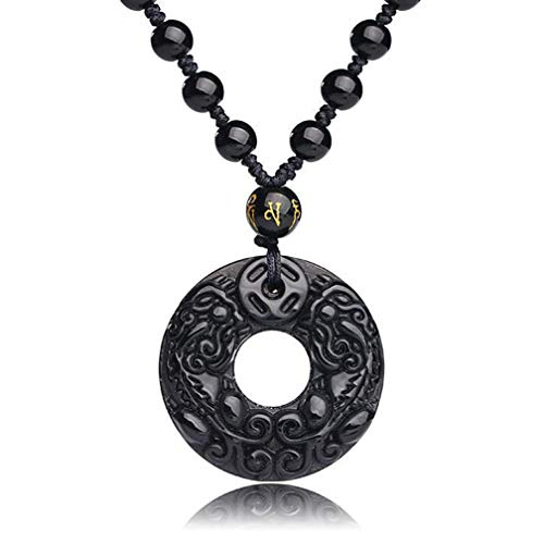 Htulip Mens Necklace Pixiu Obsidian Stone Amulet Pendant Necklace for Men Women