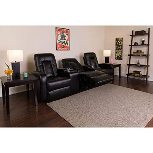Flash Furniture Eclipse Series 3-Seat Reclining Black LeatherSoft Theater Seating Unit with Cup Holders