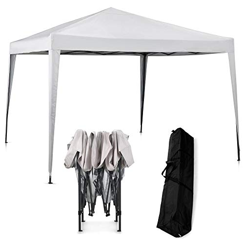 VonHaus Pop Up Gazebo 3x3m with no sides – Outdoor Garden Marquee with Water-resistant Cover and Telescopic Legs - Canopy, Frame, Pegs & Storage Bag - Easy Pop Up Assembly - Ivory Colour
