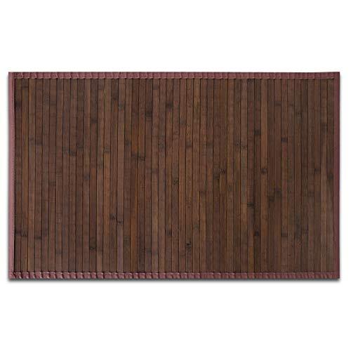 casa pura Tapis de Bain Bambou Naturel hypoallergénique   antidérapant   Rebord wenge, 90x120cm