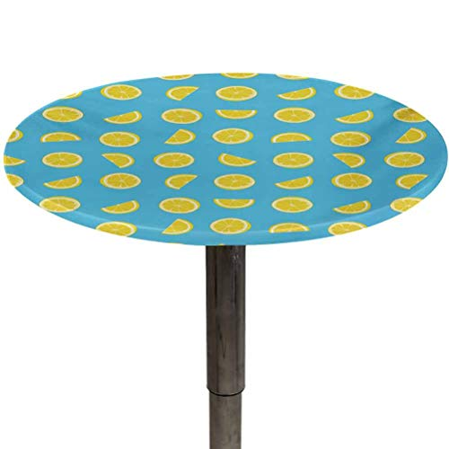 Outdoor Tablecloth Round Yellow and Blue Elastic Table Covers Fresh Lemon Slices Fruit Happy Summer Sun Exotic Vacation Holiday Joy for Spring Outdoor Camping Picnic Sky Blue Yellow Diameter 54'