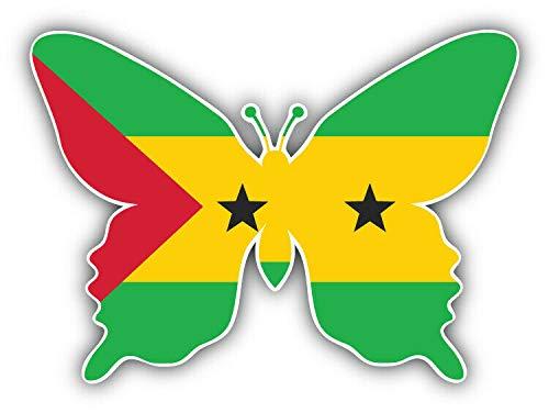 10cm! Klebe-Folie Wetterfest Made-IN-Germany Sao Tome Principe Flag Flagge Fahne Wappen Butterfly Schmetterling G1080 UVundWaschanlagenfest Auto-Aufkleber Sticker Decal