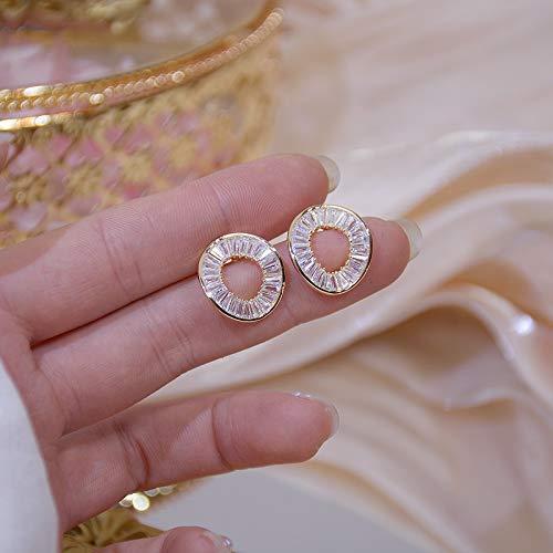 Pendientes de oro real de 14 quilates con círculo irregular para mujer, con circonita AAA brillante (color de gema: plata)