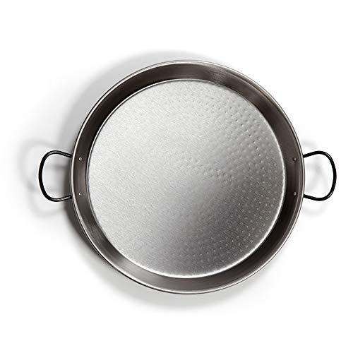 La Valenciana Vaello Polished Steel Valencian Paella Pan, 46 cm, 30 x 6 x 7 cm, Silver