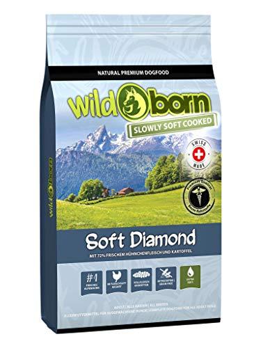 Wildborn getreidefreies Hundefutter Soft Diamond 12 kg Softfutter mit 72% frischem Schweizer Alpenhühnchenfleisch