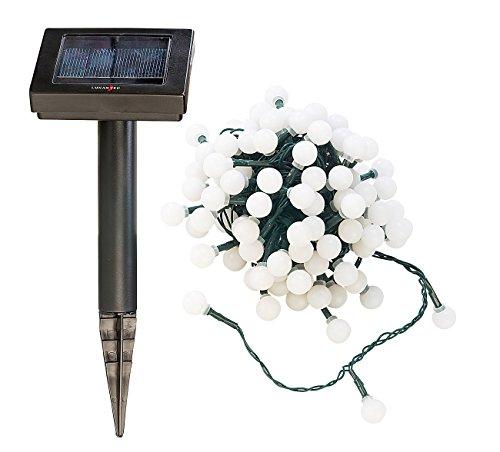 Lunartec Lichterkette ohne Strom: Solar-LED-Lichterkette mit 102 weißen LEDs, 10 m, IP44 (Lichterkette außen ohne Strom)