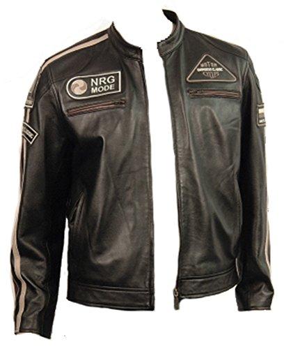 En cuir noir pour homme Motif rétro Urban & Badges-VICENZA Veste, Noir - Black with Contrasting Stripes, 3XL (fits chest upto 48')