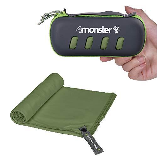 4Monster Toallas de microfibra en 5 colores, absorbentes, ultraligeras, de secado rápido, para fitness, deportes, sauna, yoga, viajes [Medio (60 x 120cm)] Verde Militar.