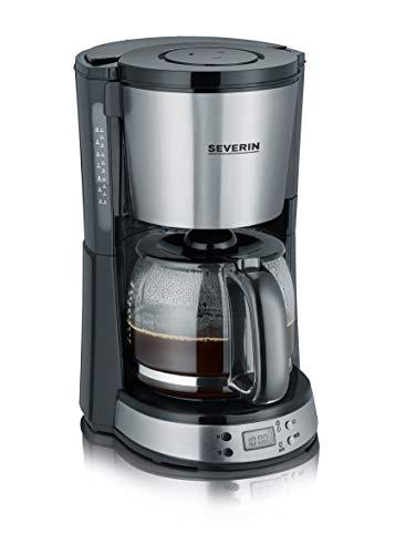 SEVERIN Kaffeemaschine, Select, Für gemahlenen Filterkaffee, 10 Tassen, Inkl. Glaskanne, KA 4192, Edelstahl/Schwarz