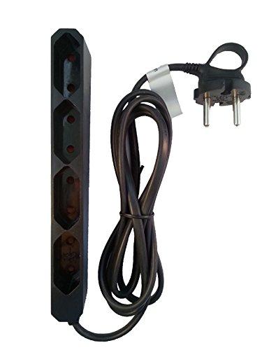 GAO EU4 Black Eurosteckdosenleiste 4 Fach schwarz, 1,5M Zuleitung, extraflache Bauform, mit Flexibler Bügellasche
