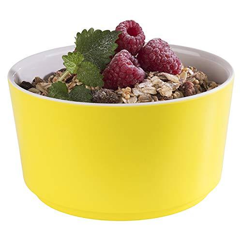 """APS Schale """"Happy Buffet"""", Bowl, runde Buffetschüssel, Schale aus Melamin, weiß/gelb, Ø 13,0 cm, Höhe 7 cm, für 0,6 Liter Inhalt"""
