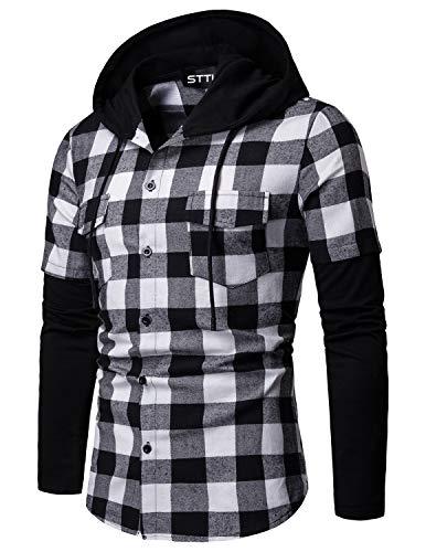 STTLZMC Hombre Sudadera con Capucha Camisa de Cuadros Cosiendo Manga Larga Botones Cordón Camisetas,Blanco y Negro,S