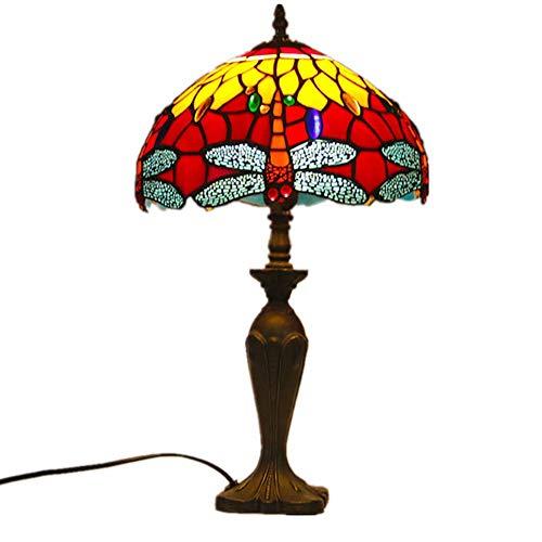Lampenkap van kleurrijk glas, tafellamp in Amerikaanse Tiffany-stijl, geschikt voor de werkkamer, hotelkamer, slaapkamer, nachtkastje, exquise cadeau-idee, tafellamp verlichting