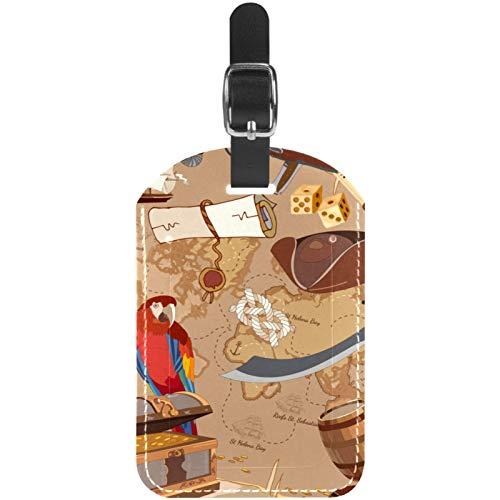 Etichette per bagagli Parrot Voyage in pelle viaggio valigia etichette 1 confezioni