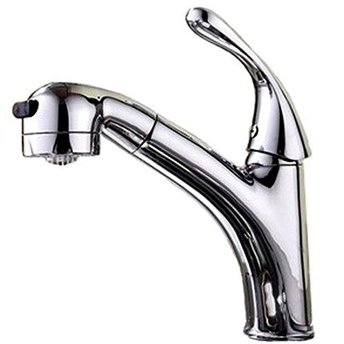SK58 伸縮 ハンド シャワーノズル シングルレバー 混合水栓 キッチン 洗面用 伸縮ノズル シャワーヘッド 水道 蛇口 取り付けホース付き (ハンドシャワー混合水栓)