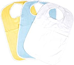 6 Pack of Soft Terry Cloth Adult Bibs with Velcro® Closures Size 18x30 - 2 Blue 2 White & 2 Yellow (18