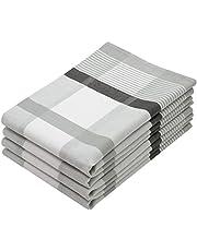 ZOLLNER 4 paños de Cocina algodón 100%, 50x70 cm a Cuadros Grises