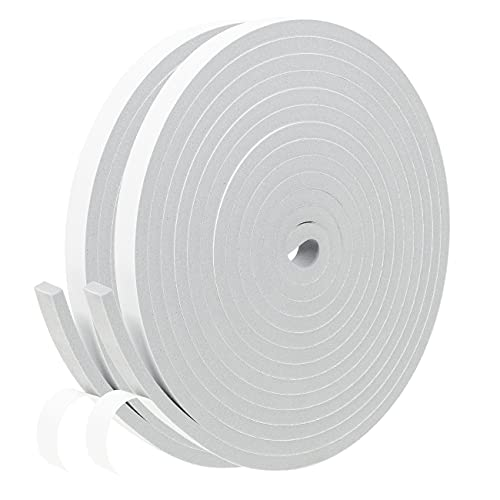 Fowong Foam Sealing Tape with Adhesive 12mm Wide x 6 mm Thick High Density Home Window Door Draught Excluder Weather Stripping, Total 8M Long (2 Rolls of 4M Long Each)