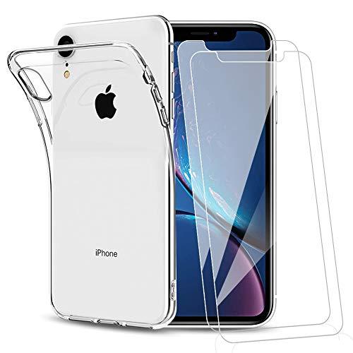 Amonke Funda para iPhone XR + 2 Pcs Protector de Pantalla para iPhone XR Cristal Templado, Flexible Suave Silicona Transparente TPU Carcasa + Vidrio Templado para iPhone XR
