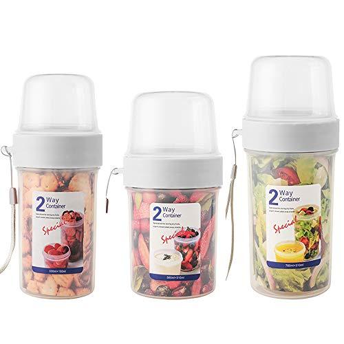 N / A Joghurtbecher, Praktischer Salatbecher Müslibecher, Reisebecher, Lunchbox, to go Becher Geeignet für Tiefkühler, Mikrowelle und Spülmaschine (3er Pack, 150 + 330 ml/310 + 560 ml/310 + 760 ml)