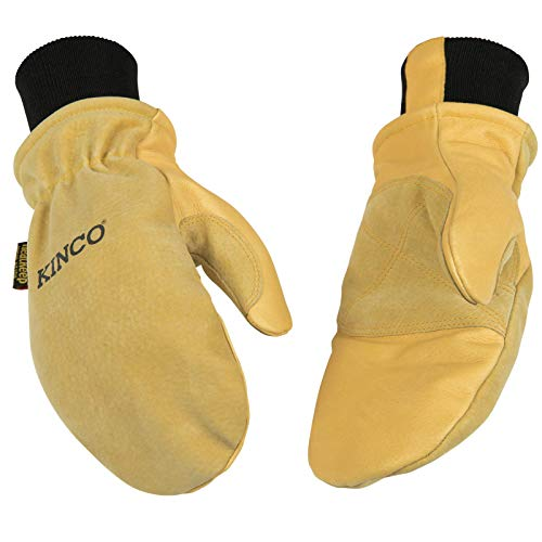 Kinco - Lined Premium Pigskin Leather Work and Ski Mitt with Nikwax Waterproof Wax, Heavy Duty Reinforced Palm, Heatkeep Thermal Insulation, Omni-Cuff, Fitted Knit Wrist, (Style No. 901T)
