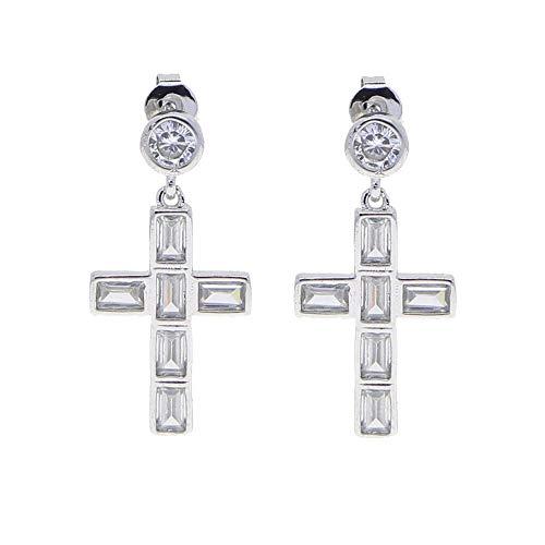 Fashion Jewelry Bezel Set Baguette Cubic Zirconia Cz Iced Out Bling Cross Charm Dangle Earring