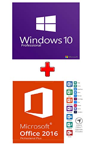 Windows 10 Pro et Office 2016 Pro Plus | Clés internationales + logiciels | 1 PC || English, Français, Italiano, Español, Deutsch