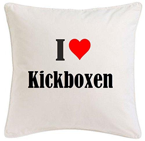 Kissenbezug I Love Kickboxen 40cmx40cm aus Mikrofaser ideales Geschenk und geschmackvolle Dekoration für jedes Wohnzimmer oder Schlafzimmer in Weiß mit Reißverschluss