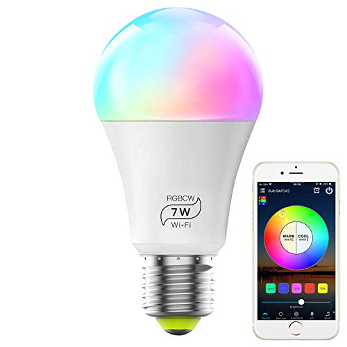 WiFi Bulb No Hub Required, Dimmable Multicolor E26 A19 7W (60w Equivalent) Color Changing LED Smart Light, Compatible with Alexa Google Home Siri IFTTT