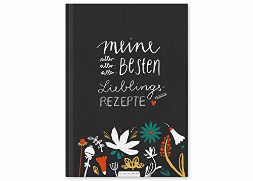 Rezeptbuch zum Selberschreiben, DIY Blanko Kochbuch, deine Lieblingsrezepte auf 86 blanko Seiten mit Inhaltsverzeichnis, Blumen Design bunt, Premium Hardcover, robuste Bindung, 17x24 cm