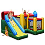 BOUNTECH Inflatable Bounce House, 6 in 1 Castle Jumping Bouncer w/ Long Slide, Jump Area, Climbing Wall, Basketball Rim, Tunnel, Kids Bouncy House for Indoor Outdoor Backyard (Without Blower)