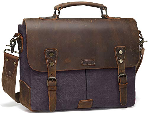 Messenger Bag for Men, Vaschy 14 Inch Laptop Bag Vintage Women Shoulder Bag Genuine Leather Canvas Cross Body Bag Work Satchel with Detachable Strap