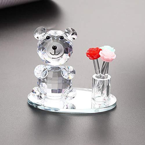 ScultureSimpatico orsetto di cristallo Artigianato Ornamenti Cristallo Animali FIgurine Bellissimo ornamento Vetro Fermacarte per piccoli animali Decorazioni da tavola per la casa-chiaro