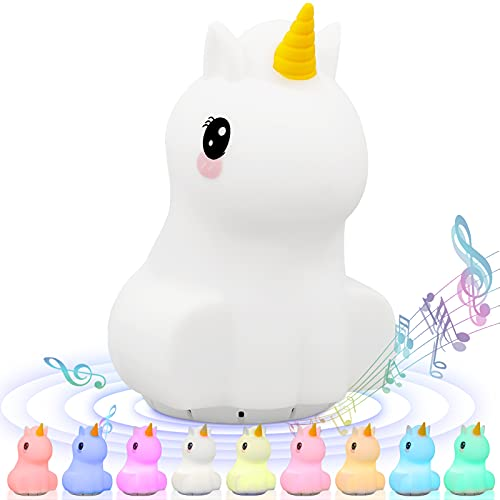 Kids Night Light,Portable Remote Control Nightlight Multicolor Lamp USB Rechargeable Silicone 9 Color Changing Lamps for Kids Baby Bedroom Nursery Gifts Girls Women (Unicorn Bluetooth Speaker)