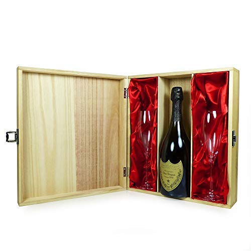 Dom Perignon 2008 Vintage Champagne 75cl With Matching Glass Flutes - Presented in a Keepsake Wooden Case - Ideas for Christmas, Birthday, Anniversary, Business and Corporate