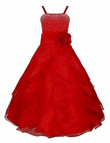 :iEFiEL Mädchen Kinder Kleider Festlich Lang Brautjungfern Kleid Prinzessin Hochzeit Party Kleid Gr. 92-164 Rot 140/10 Jahre