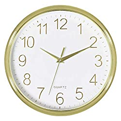 Foxtop Silent Non-Ticking Quartz Battery Operated Wall Clock for Living Room Bedroom Home Office School (Light Gold Plastic Frame, Glass Cover, 11 inch)