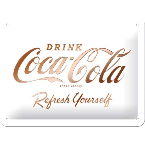 Nostalgic-Art Coca-Cola – Logo White – Geschenk-Idee für Coke-Fans Cartel de Chapa Retro, De Metal, Diseño Vintage para decoración, 15 x 20 cm