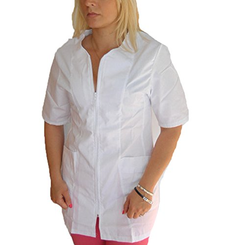 Kittel, Bluse, Arbeitskleidung für Kosmetikerin, Friseuse, Schönheitssalon, Massagesalon, mit Reißverschluss, aus Baumwolle XL Bianco
