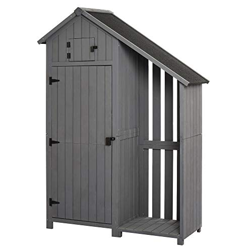 Outsunny Garden Outdoor Storage Shed 3 Shelves Tilt Roof w/Firewood Rack Log Carrier Home Garden Tool Storage - 129L x 51.5W x 180H cm